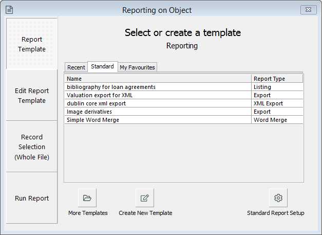 Reporting window, select report page